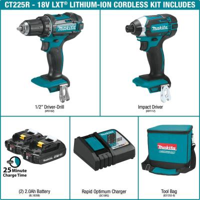 18-Volt LXT Lithium-Ion Cordless Driver Drill and Impact Driver Combo Kit (2-Tool) with (2) 2Ah Batteries, Charger, Bag
