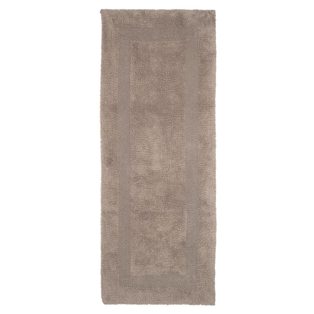 Taupe 2 ft. x 5 ft. Cotton Reversible Extra Long Bath
