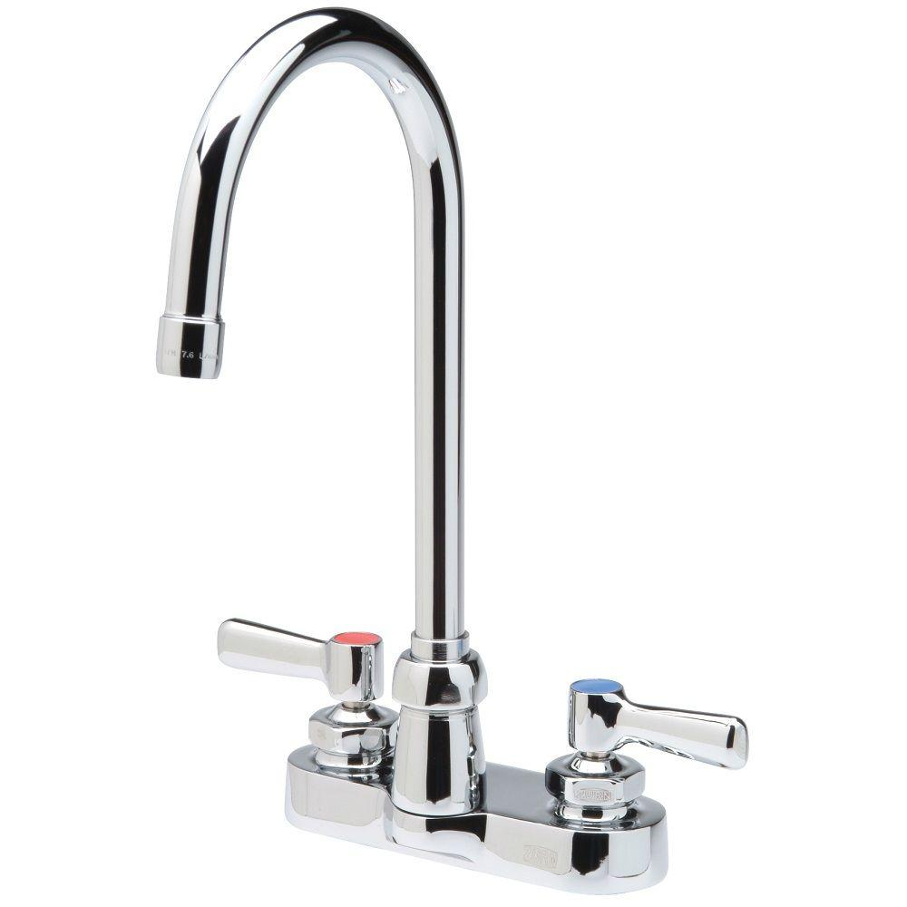 Zurn 4 in. Centerset 2-Handle Gooseneck Bathroom Faucet in Chrome ...