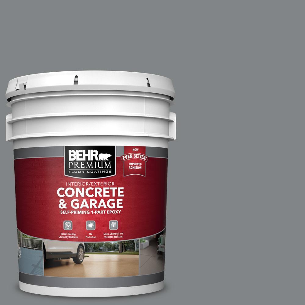 BEHR Premium 5 gal. #PFC-63 Slate Gray Self-Priming 1-Part Epoxy Satin Interior/Exterior Concrete and Garage Floor Paint