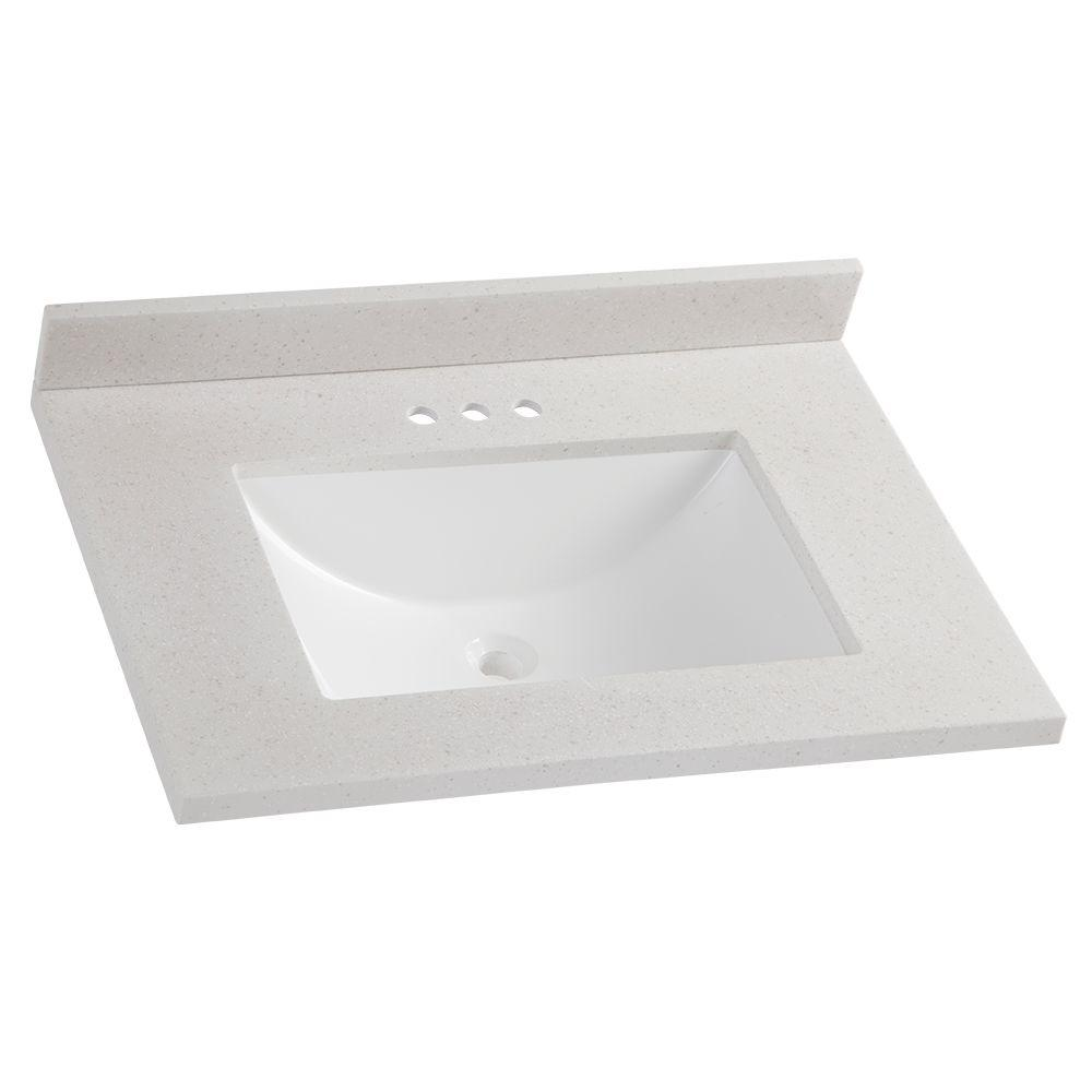 31 in. Solid Surface Vanity Top in Titanium with White Basin