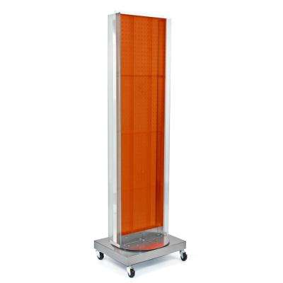 60 in. H x 16 in. W Pegboard Floor Display in Orange with C-Channel Sides on a Revolving Base