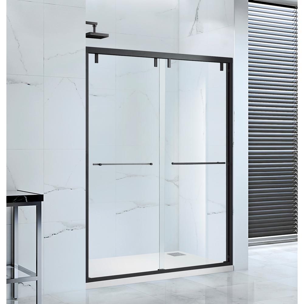 Lido 60 in. x 76 in. Semi-Frameless Bypass Sliding Shower Door in Black