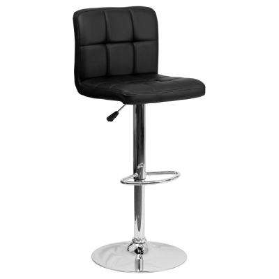 34 in. Adjustable Height Black Cushioned Bar Stool