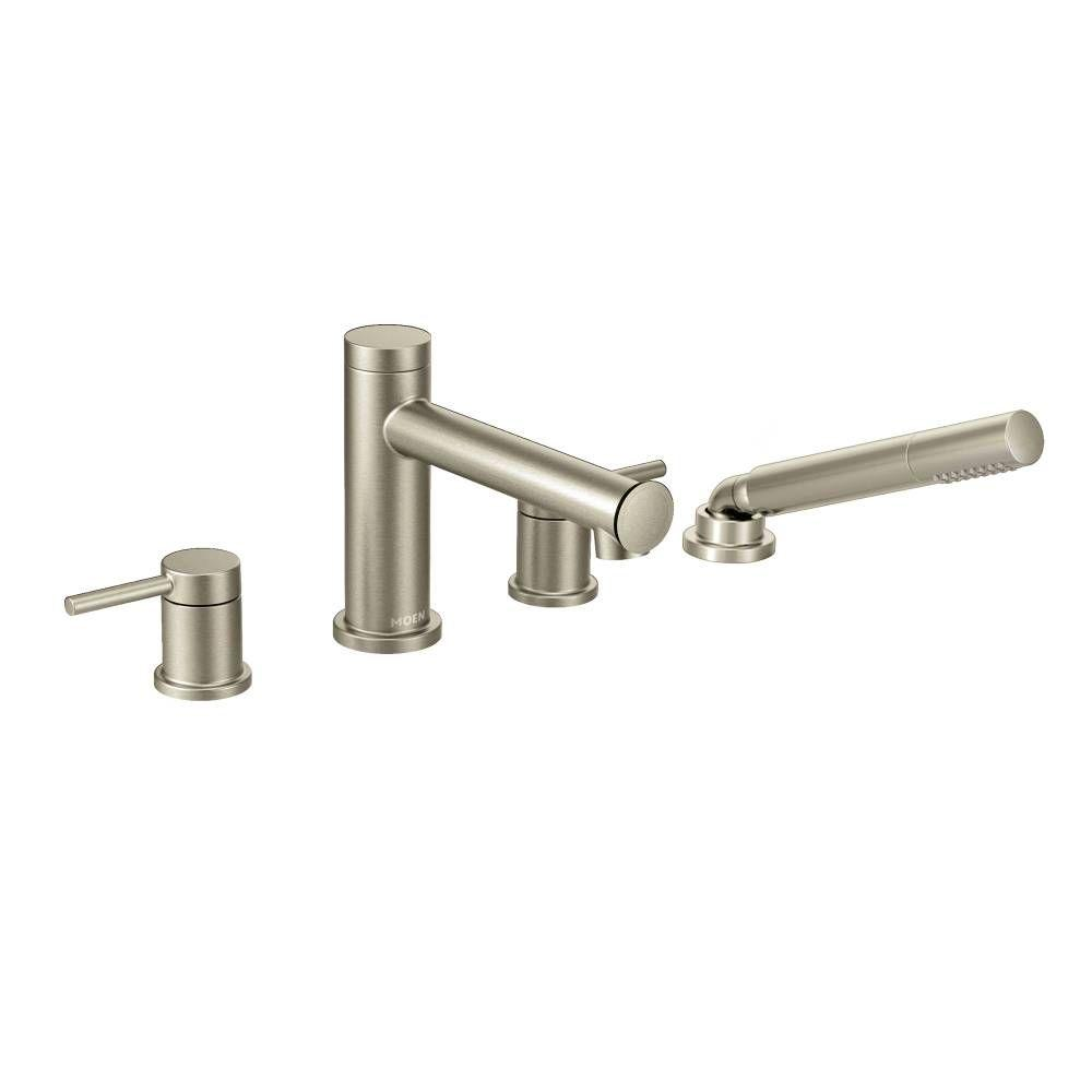 Moen Align 2 Handle Deck Mount Roman Tub Faucet Trim Kit With Hand Shower In