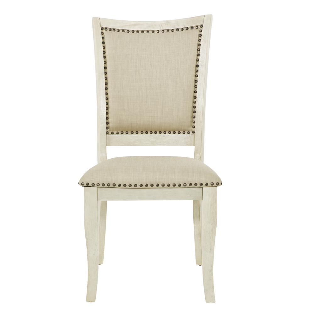 OSP Home Furnishings Alba Antique White Dining Chair (Set of 2) Enhance the look of your dining room with the addition of the Alba Dining Chair from OSP Home Furnishings. Crafted with a solid wood frame. Each dining chair features a plush upholstered seat and stylish nailhead accents. Color: Antique White.
