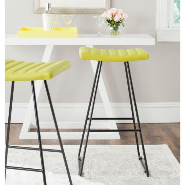 Safavieh Akito 30 in. Green Cushioned Bar Stool (Set of 2)