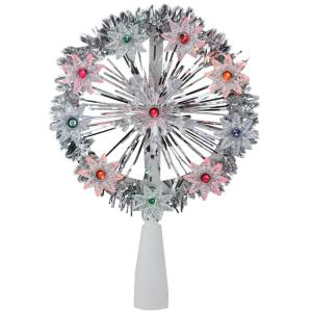 7 in. Silver Tinsel Snowflake Starburst Christmas Tree Topper - Multi Lights