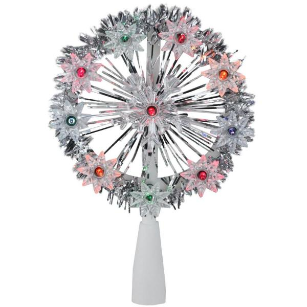 7 in. Silver Tinsel Snowflake Starburst Christmas Tree Topper - Multi Lights