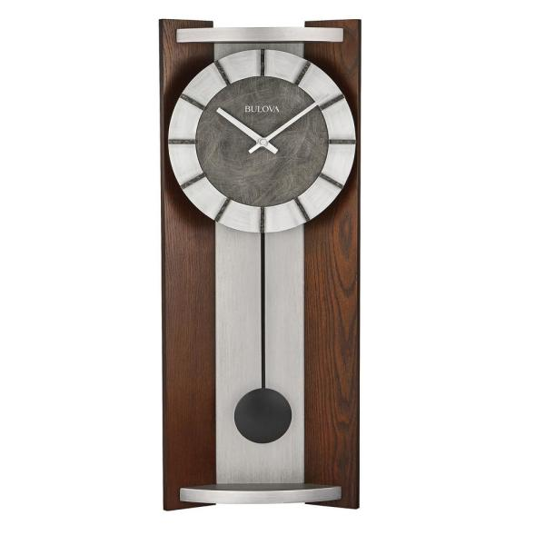 Contemporary Urban Rectangular Wall Clock with Hardwood Case in Espresso Stain