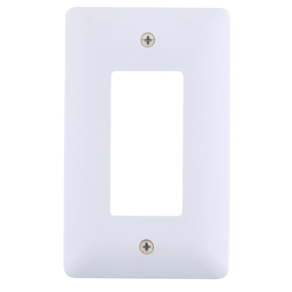 White Satin Cooper Wiring Devices 9521WS Aspire Screwless Wallplate 1-Gang