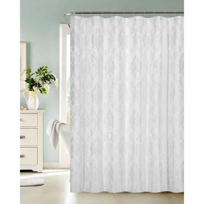 Vienna 72 in. White Fabric Shower Curtain