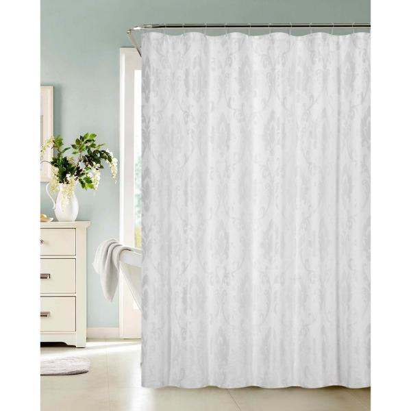 Dainty Home Vienna 72 in. White Fabric Shower Curtain
