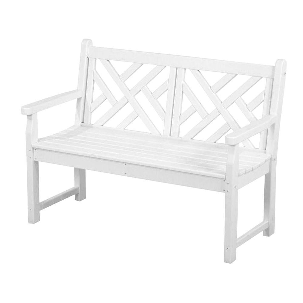 Phenomenal Polywood Chippendale 48 In White Patio Bench Inzonedesignstudio Interior Chair Design Inzonedesignstudiocom