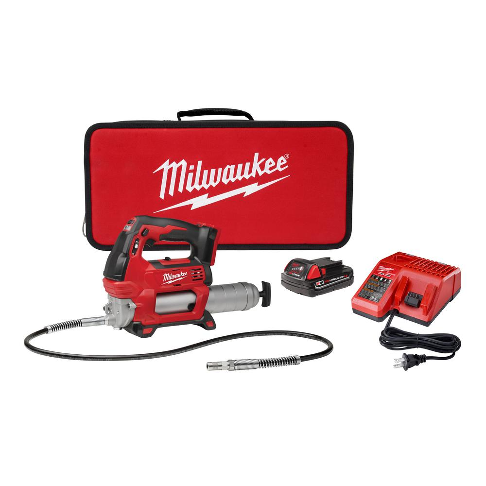 MILWAUKEE Cordless Air Grease Gun M18 18-Volt Flexible Hose Air Bleeder Valve