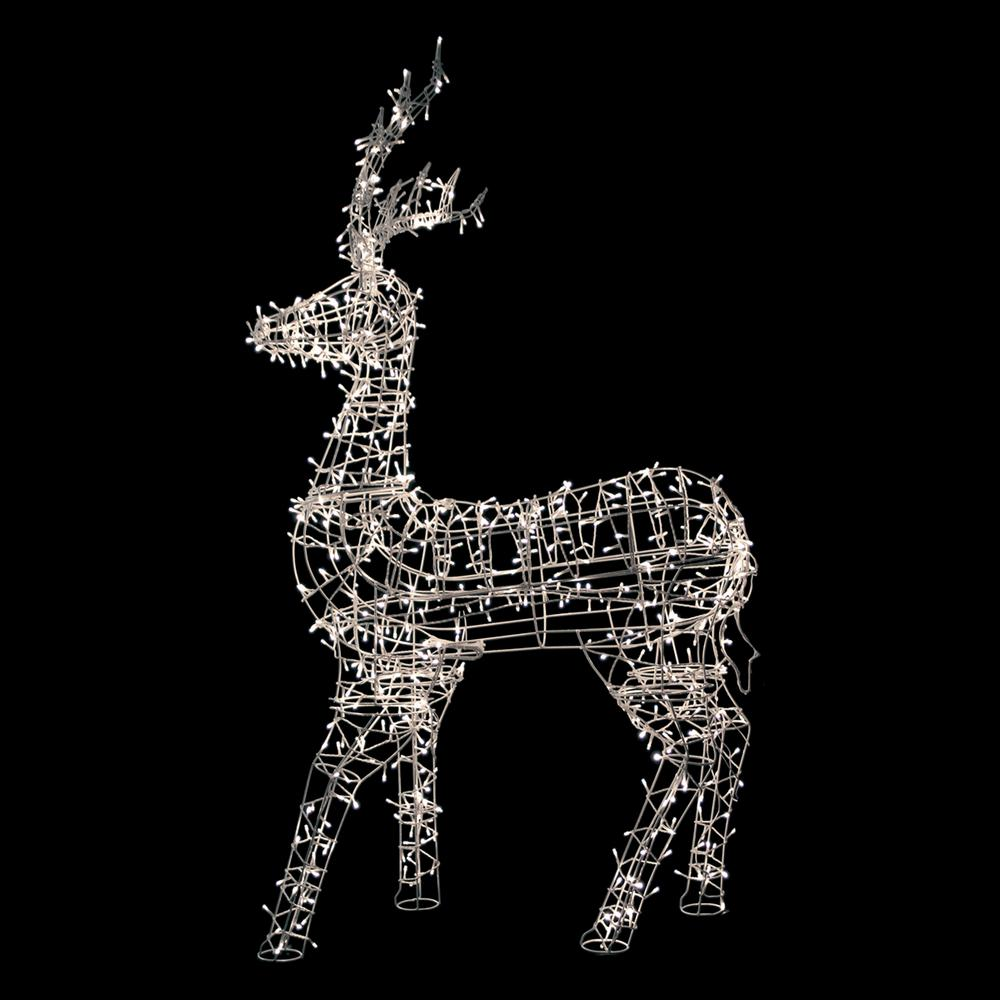 christmas decoration lighted standing reindeer outdoor with warm white led lights - Metal Reindeer Christmas Decorations