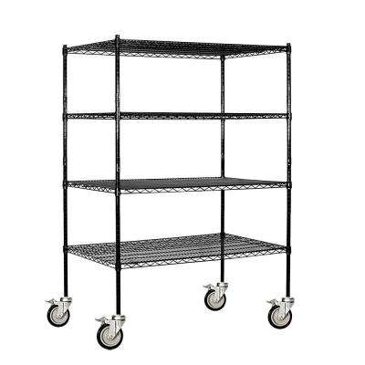 9500M Series 48 in. W x 69 in. H x 24 in. D Industrial Grade Welded Wire Mobile Wire Shelving in Black