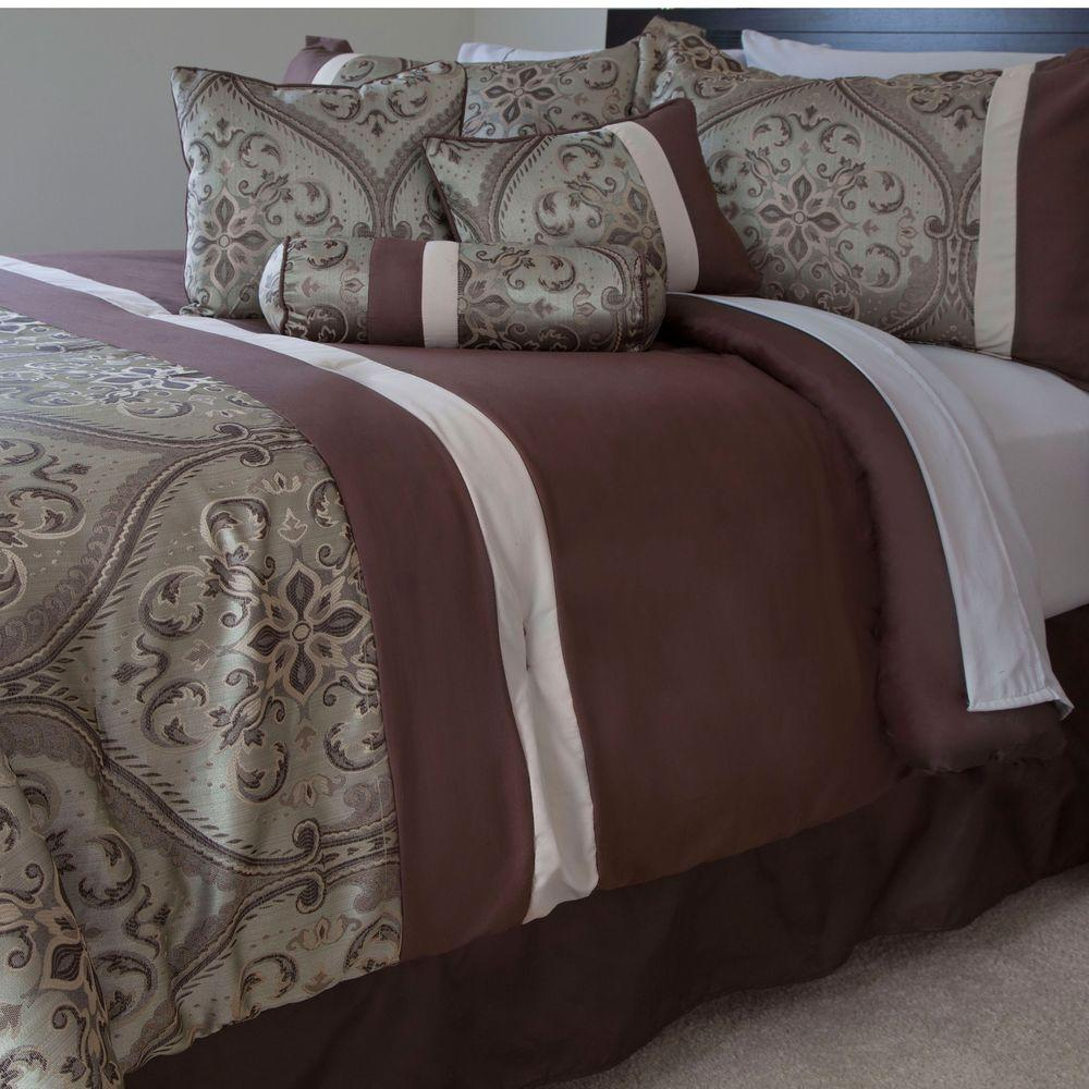 Lavish Home Geneva Brown 7-Piece Queen Comforter Set