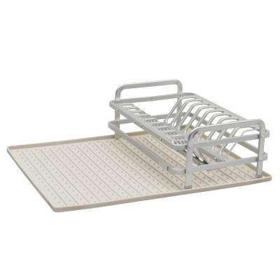 13.22 in. x 8.62 in. Compact Dish Rack in Brushed Aluminum with Drysmart Silicone Mat in Light Grey
