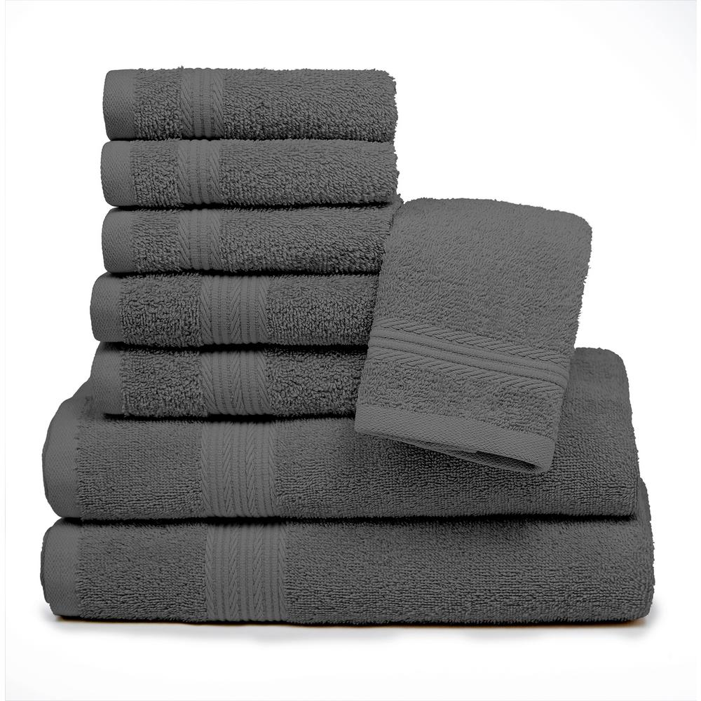 Blissful Living Blissful Living 8-Piece 100% Cotton Bath Towel Set in Grey
