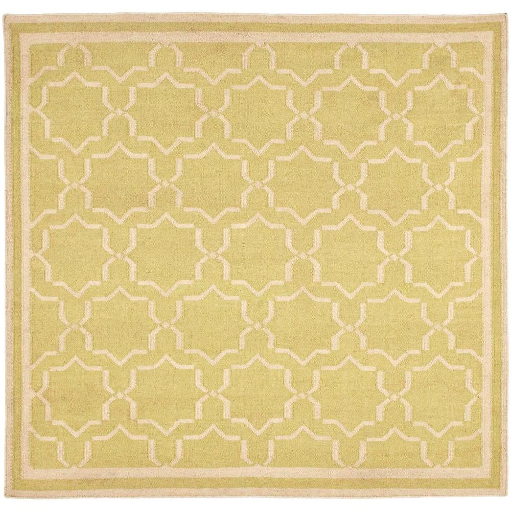 Safavieh Dhurries Light Green/Ivory 8 ft. x 8 ft. Square ...