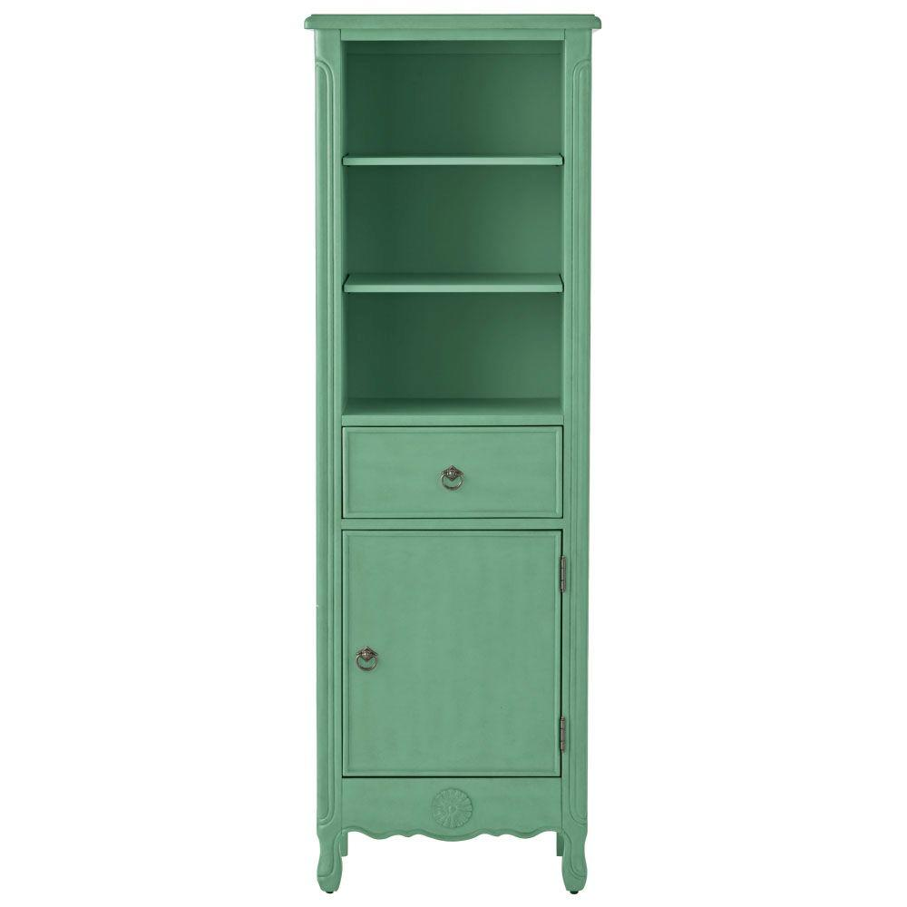 Home Decorators Collection Keys 20 in. W x 60 in. H x 14 in. D Bathroom Linen Storage Cabinet in Distressed Aqua Marine