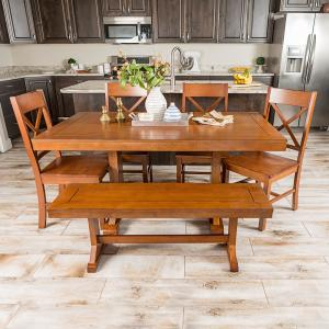 Millwright 6 Piece Antique Brown Wood Dining Set