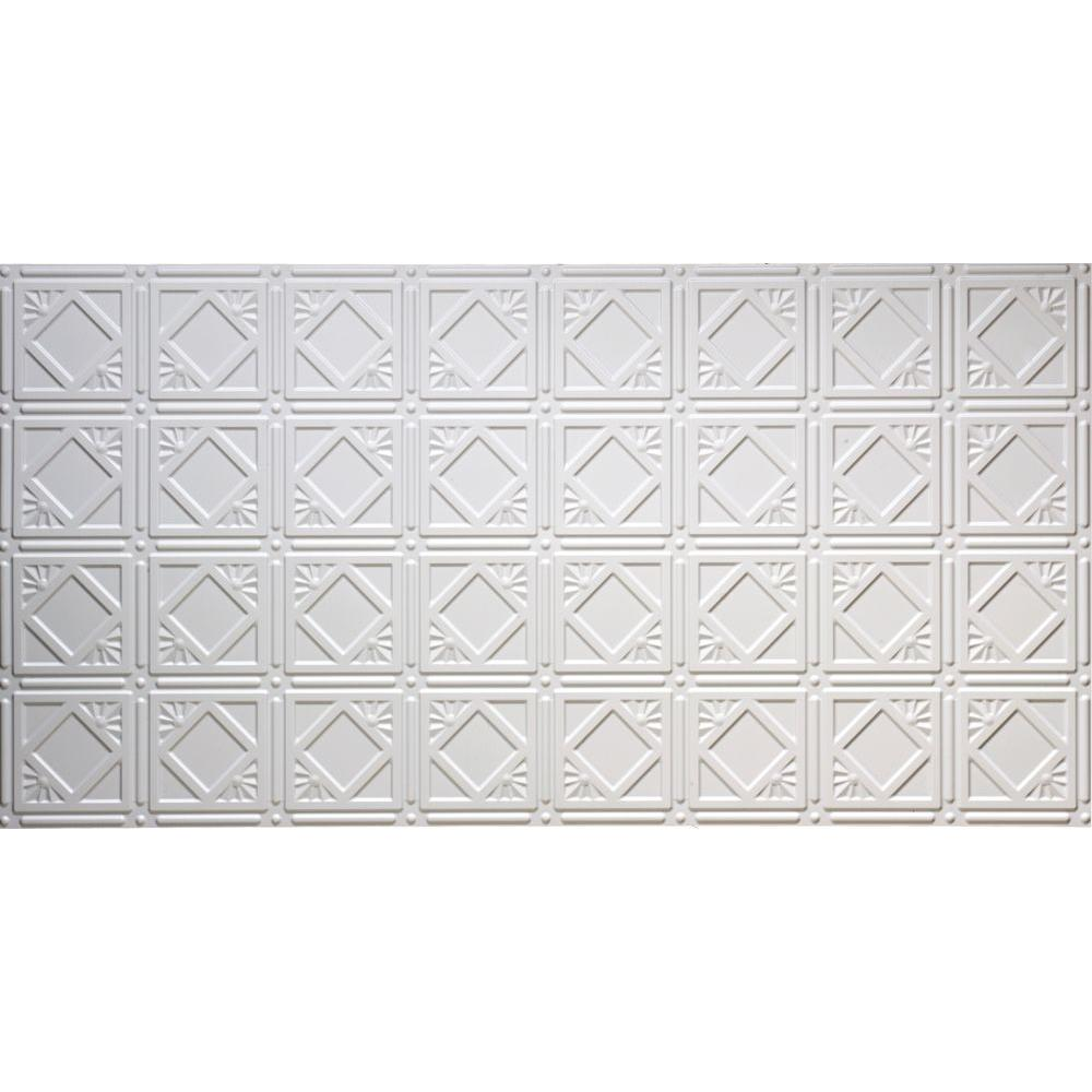 Global Specialty Products Dimensions Faux 2 ft. x 4 ft. Glue-up Tin Style Surface Mount Ceiling Tile in White
