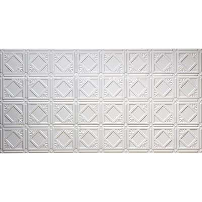 Dimensions Faux 2 ft. x 4 ft. Glue-up Tin Style Surface Mount Ceiling Tile in White