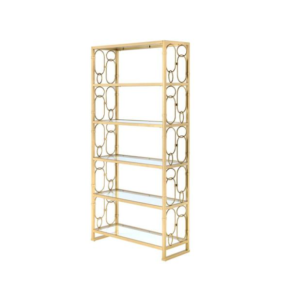 77 in. Gold/Clear Metal 5-shelf Etagere Bookcase with Open Back