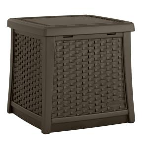Suncast Elements Resin Outdoor Side Table With Storage BMDB1310   The Home  Depot