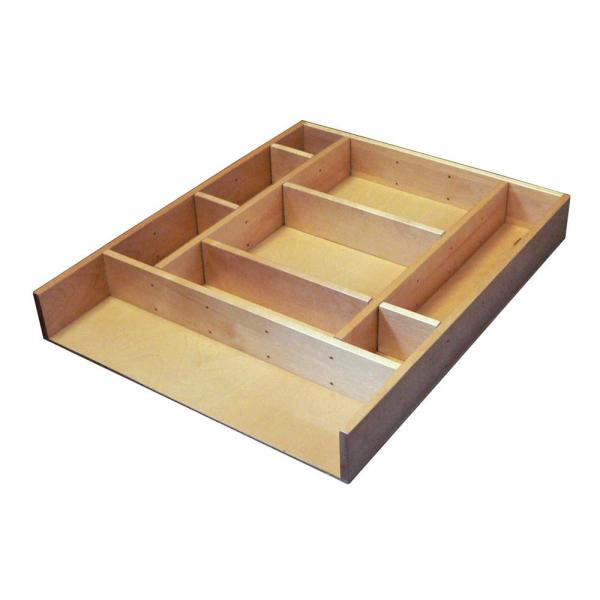 Rev A Shelf 2 5 In H X 15 38 In W X 19 12 In D Large Adjustable Wood Drawer Organizer Kit Ld 4ct21 1 The Home Depot