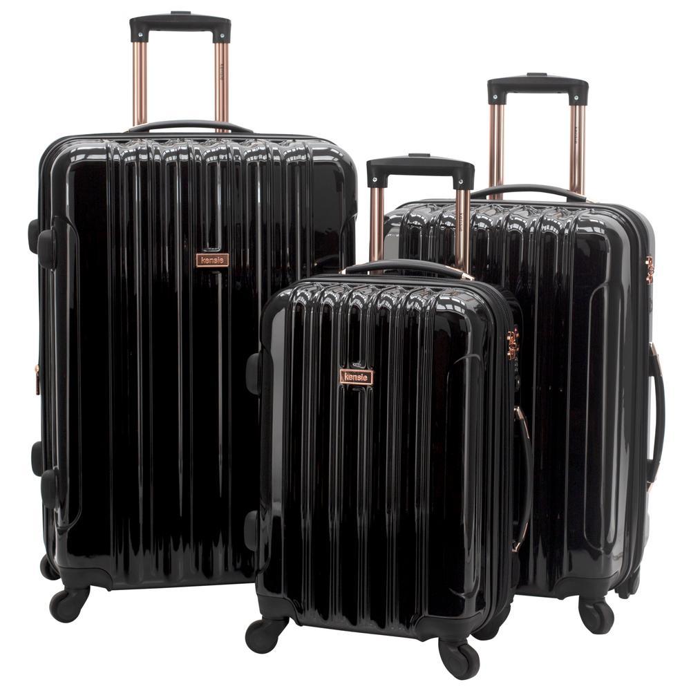 Kensie 3-Piece Metallic Vertical Rolling Luggage Set with Spinner Wheels (Kensie)