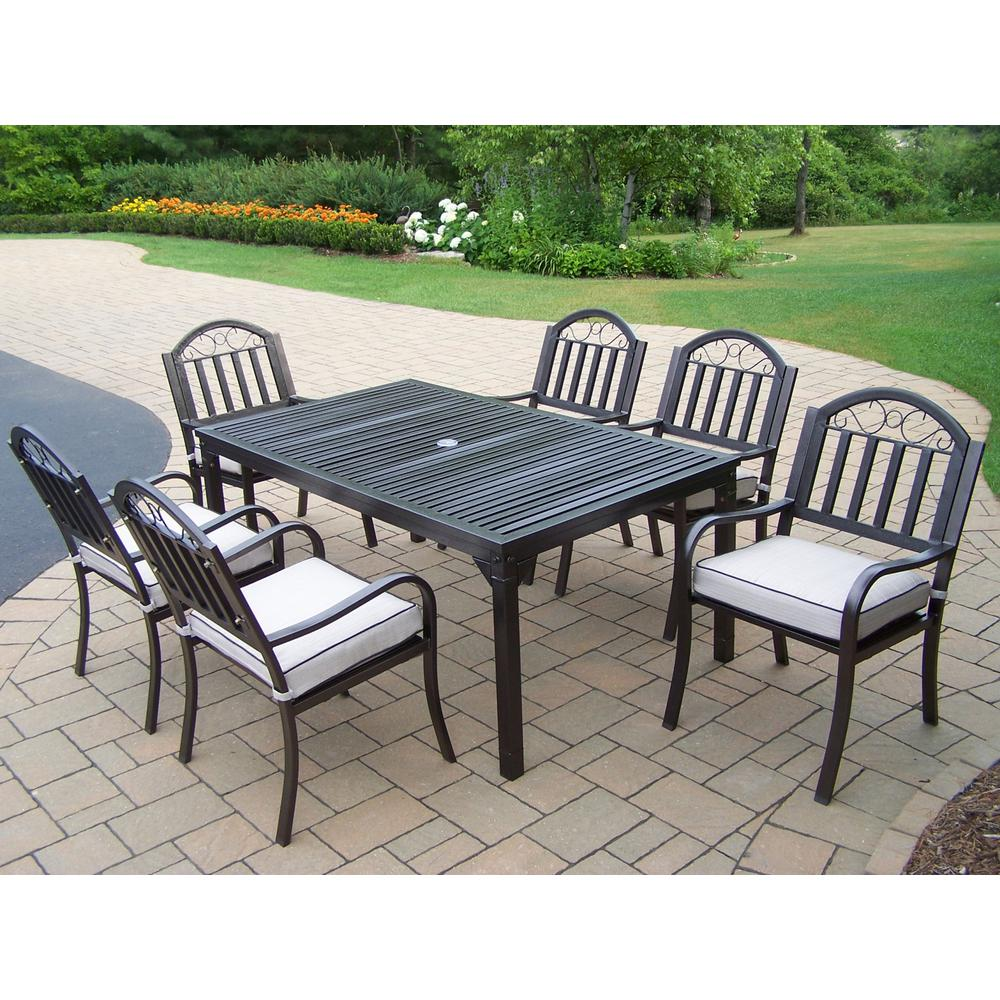 Outdoor Patio Furniture Rochester Ny: Rochester 7-Piece Outdoor Dining Set With Oatmeal Cushions