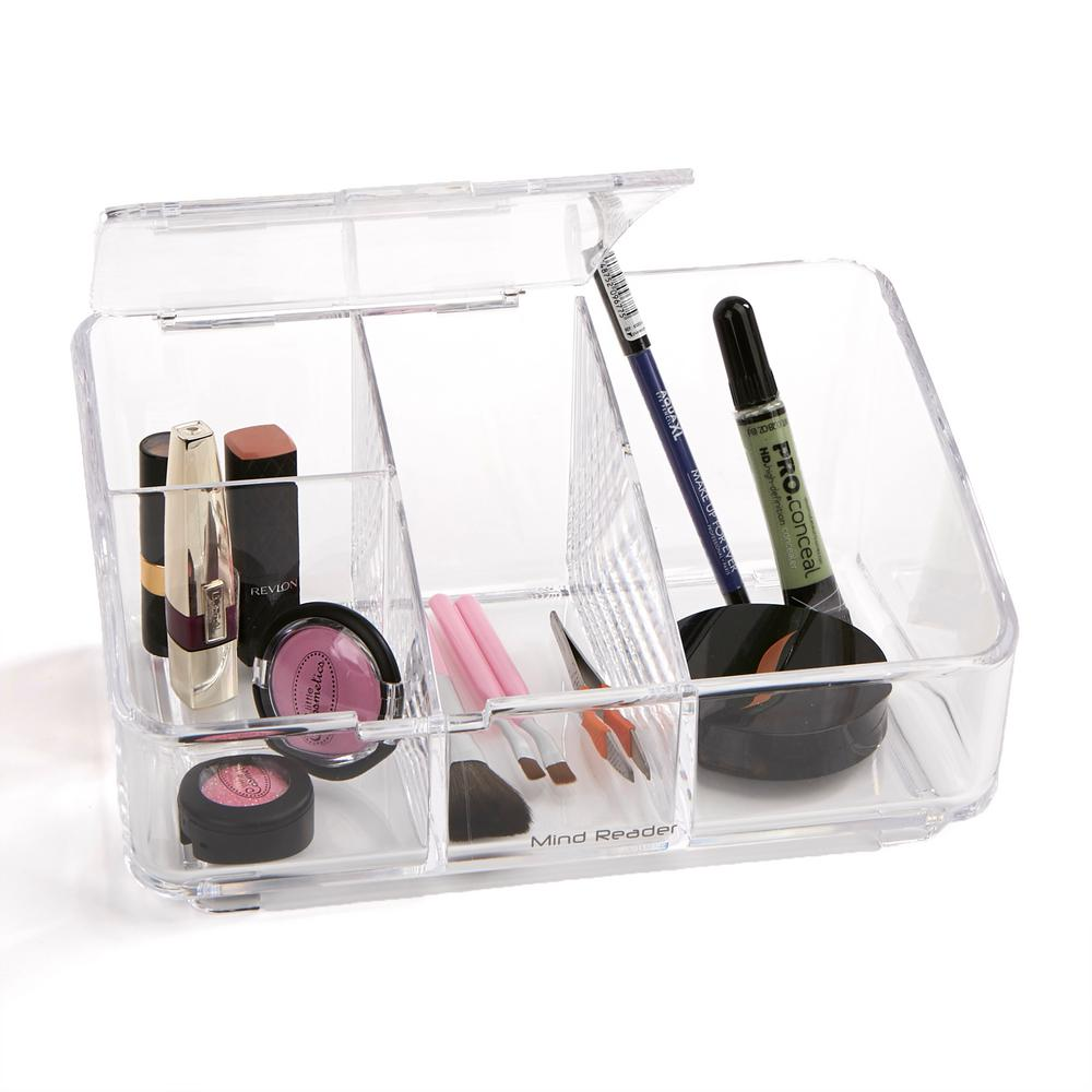 Mind Reader Acrylic Cosmetic Storage Organizer With Flap 4 Compartments  Clear
