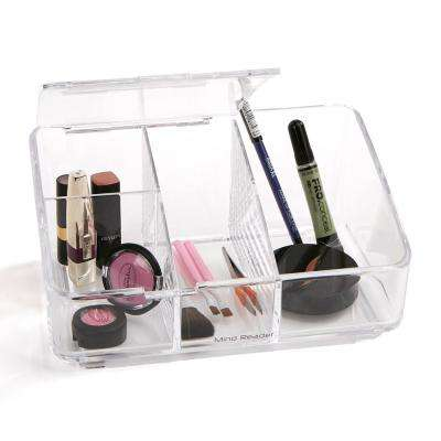 Acrylic Cosmetic Storage Organizer With Flap 4 Compartments Clear