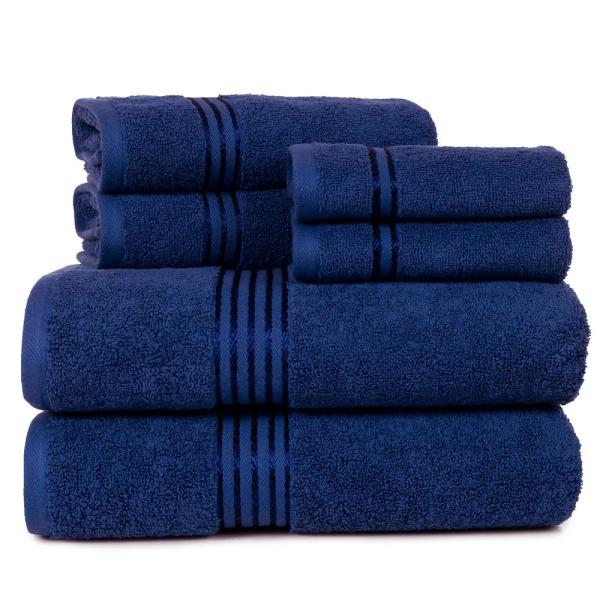 Lavish Home 100% Egyptian Cotton Hotel Towel Set in Navy (6-Piece)