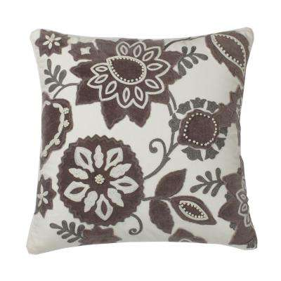 Embroidered Decorative Pillow Cover in Natural Floral, 20 in. x 20 in.