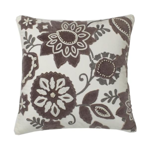 The Company Store Embroidered Natural Floral 20 In X 20 In