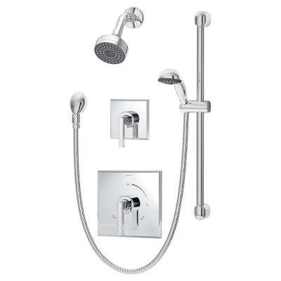 Duro 2-Handle 1-Spray Shower Faucet with Hand Shower in Chrome