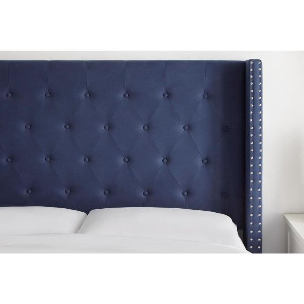 Stylewell Highfield Midnight Blue Upholstered Queen Wingback Headboard With Tufting 65 4 In W X 55 9 In H Xdl2014 Hb Only The Home Depot