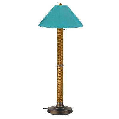 Bahama Weave 60 in. Mocha Cream Floor Lamp with Aruba Shade