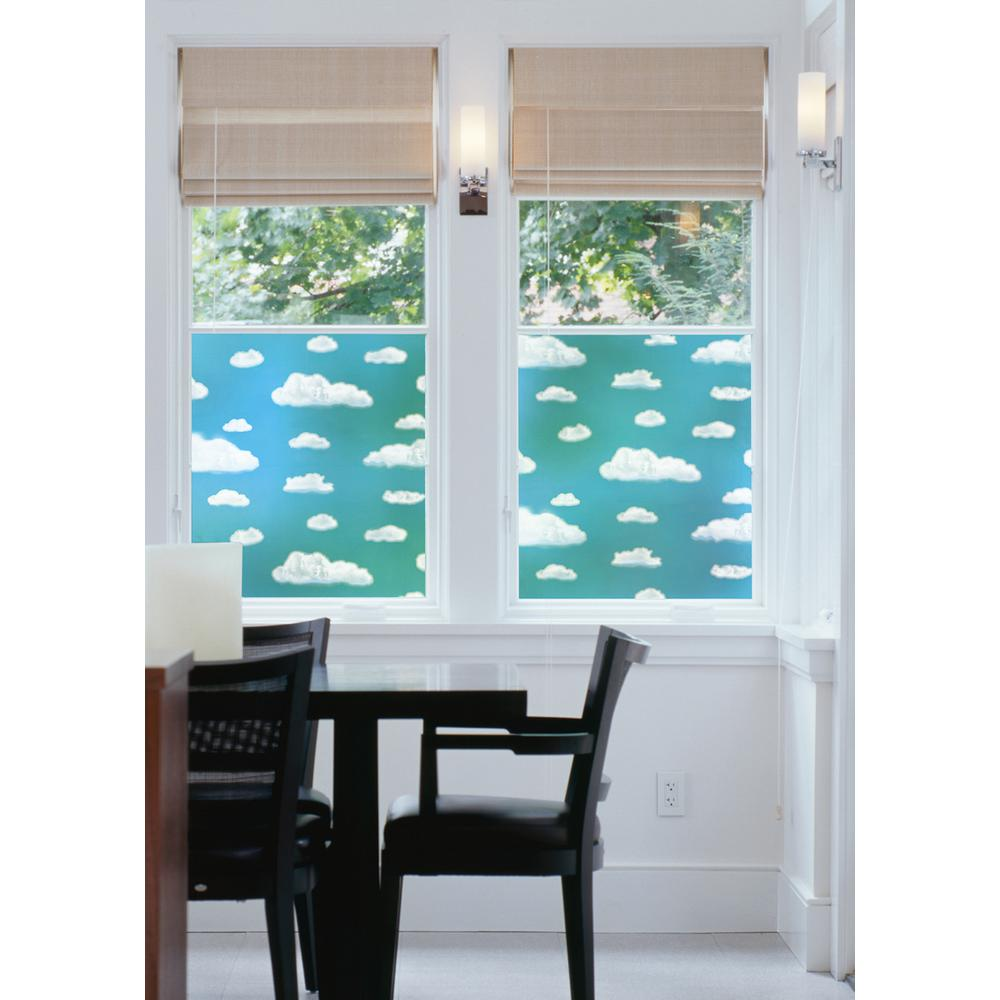 DC Fix 157.48 in. x 17.7 in. Clouds Window Film (Set of 2) Blue skies abound no matter what the weather with this Cloud window film. The peel & stick vinyl is easily cut to any size, making it a perfect accent for windows, doors, bathroom glass, or cabinets. Cloud window film will bring a bright and happy look to your glass. Use it to create privacy, filter UV rays and glare, to hide a messy view, or just to add a pretty look to a space. Comes on two 17.7 in. x 78.74 in. rolls for a total of 2 pieces.