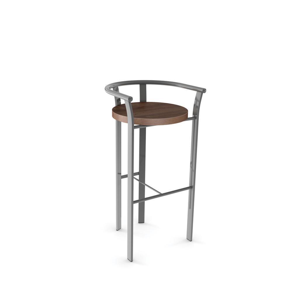 Rendezvous 26 in. Grey Metal Brown Wood Counter Stool