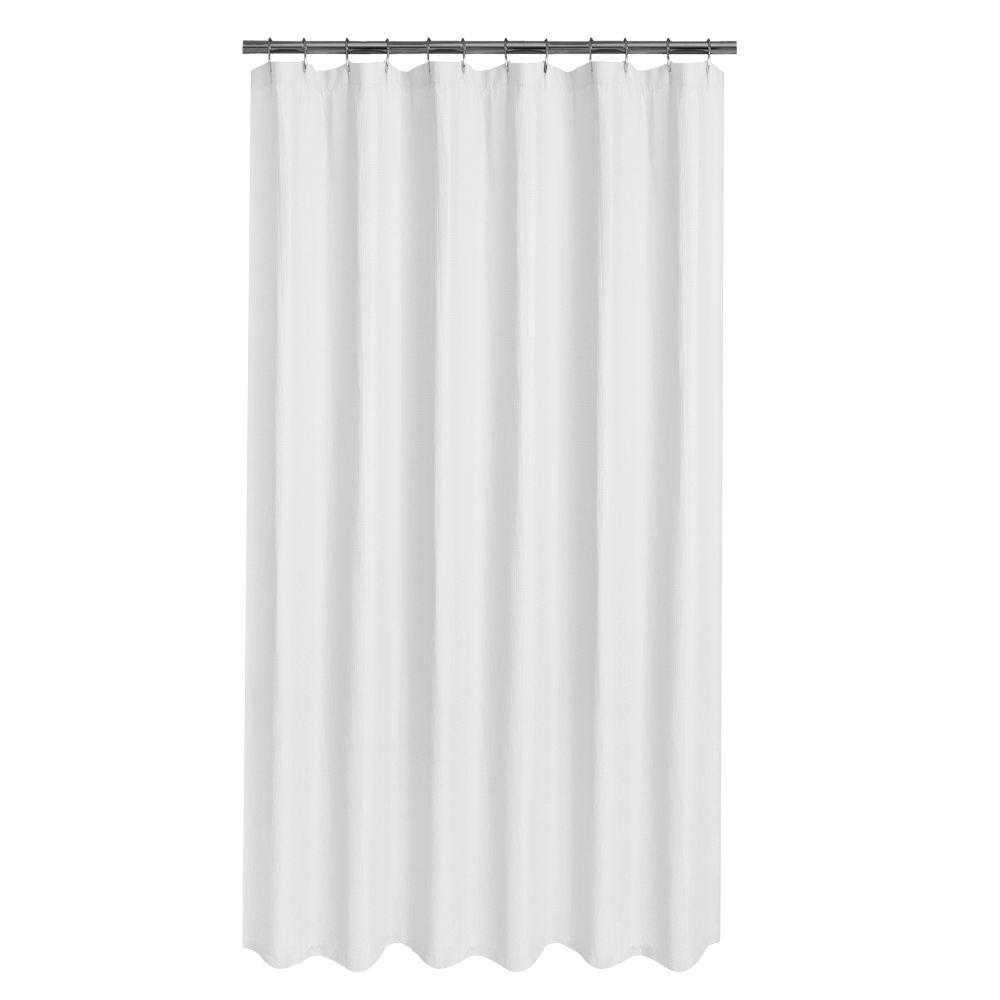 Glacier Bay Luxury Spa Waffle 70 in x 72 in White Fabric Shower