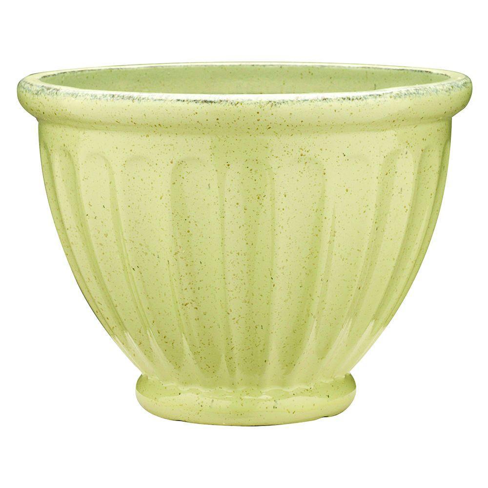 10 in. Dia Caylo Irish Cream Ceramix Glaze Planter