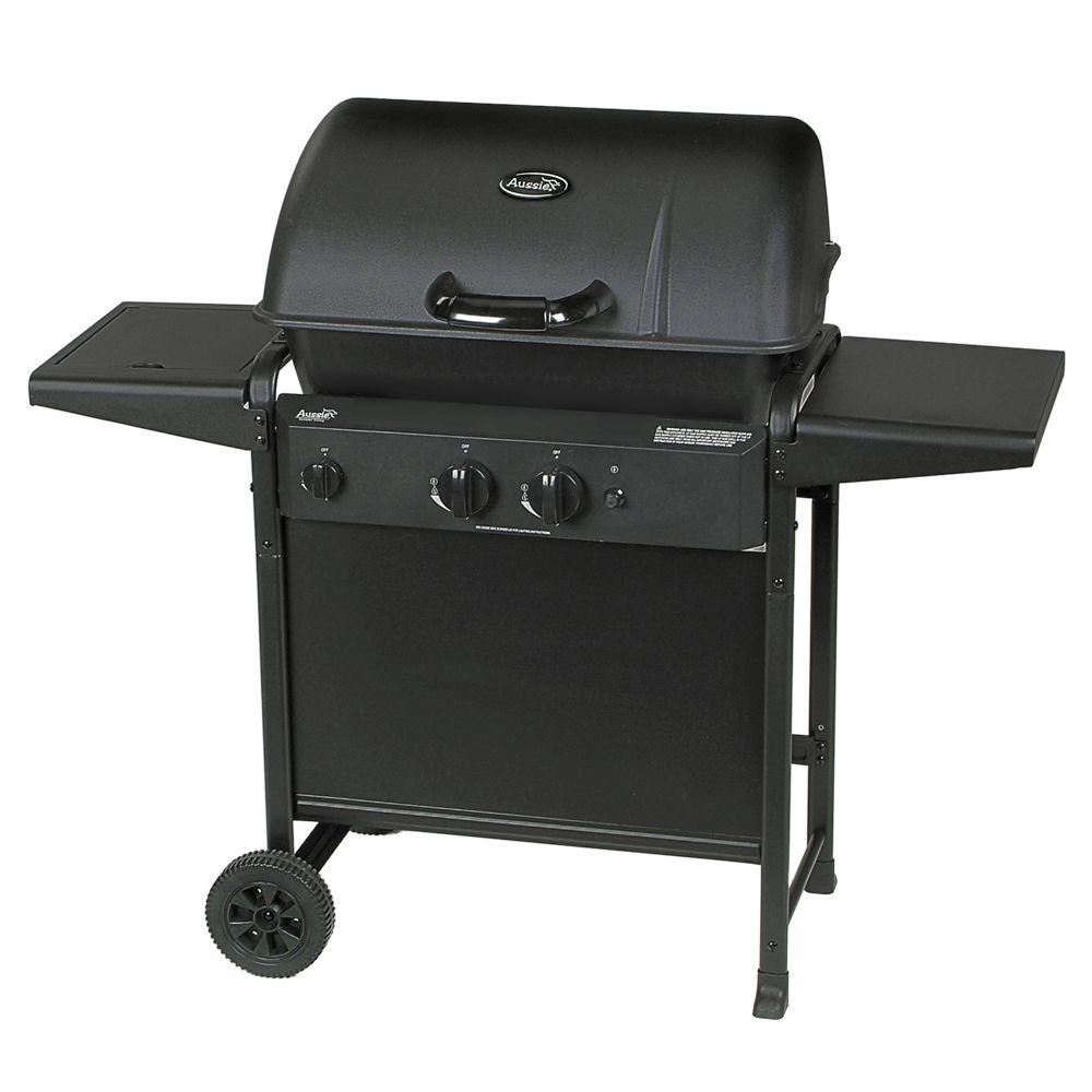 Aussie 2-Burner Propane Gas Grill with Side Burner