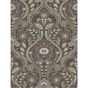 56.4 sq. ft. Night Bloom Charcoal Damask Wallpaper