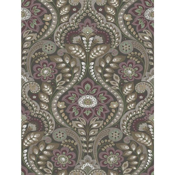 A-Street 8 in. x 10 in. Night Bloom Charcoal Damask Wallpaper
