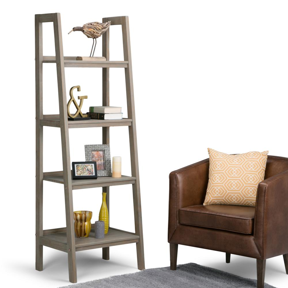 Design Ladder Bookcase simpli home sawhorse distressed grey ladder bookcase 3axcsaw 05 gr bookcase
